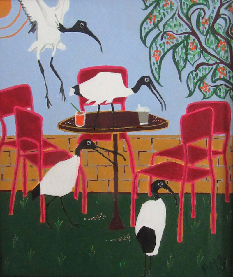 'Ibis: After Dinner Guest' framed original painting by Pam McGrath