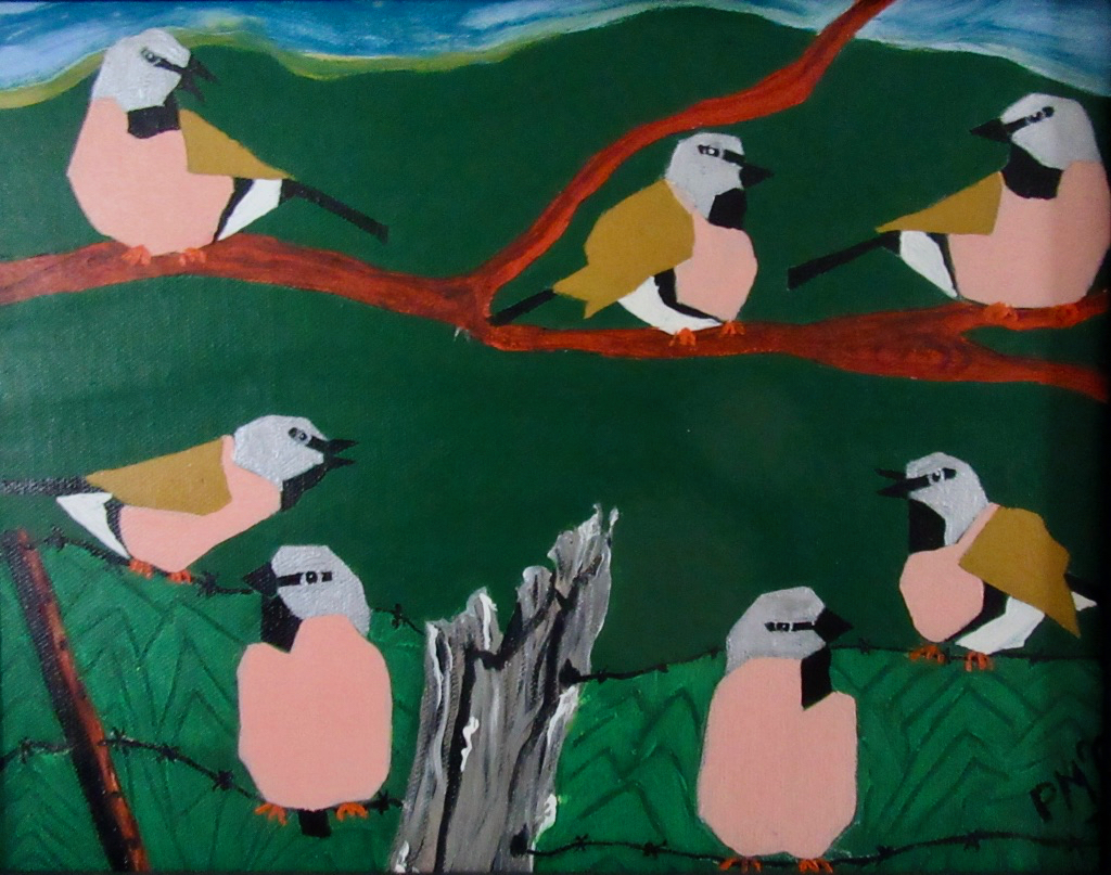 'Southern Black-throated Finches at Risk' framed original painting by Pam McGrath